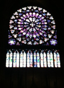 The stained glass in the Notre Dame is unbelievable.