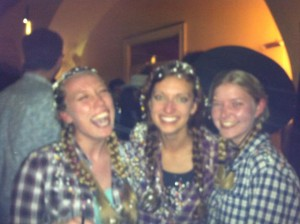 This picture is blurry because we just had confetti dumped all over us