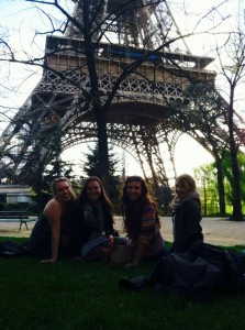 Hanging out in front of the Eiffel Tower (cliche!)