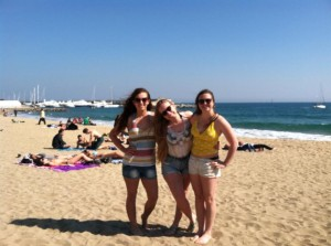At the beach in Barcelona with Morgan and Haley.