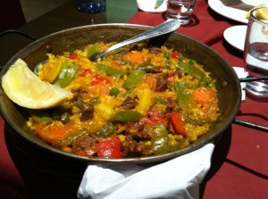 Beef paella at dinner.