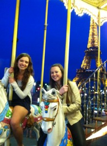 Morgan and Haley on the carousel.
