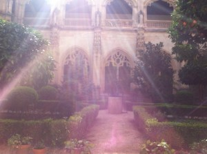 The courtyard of the monastery in Toledo was beautiful.