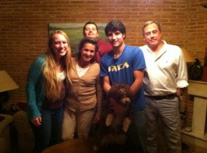 Me with our host family for the week (from left) Me, Elena, Jaime, Alex, and Pedro, with Mocha, the dog