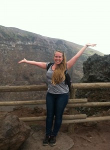 Standing in front of the crater of the Vesuvio