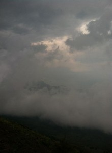 The view of the clouds from the top.